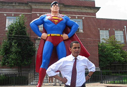 Superman stands with President Obama